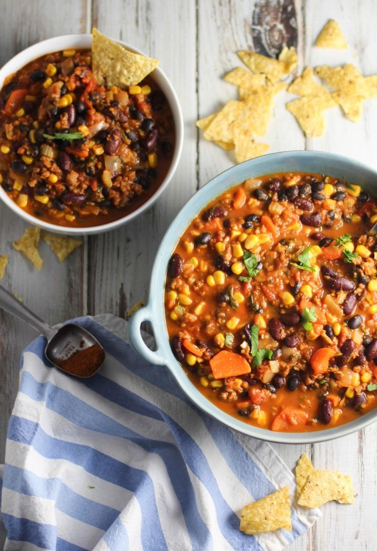 Ultimate Vegan Chili, my favorite. Only used one bag of crumbles, added diced red pepper an one can of diced chilis. Makes a huge pot!