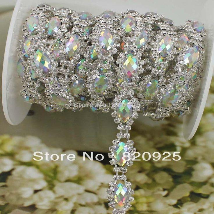 1 Yards Limpar Rhinestone Diamante AB Cristal Applique Traje Costura Trims WB83 em Pedrarias de Home & Garden no AliExpress.com | Alibaba Group