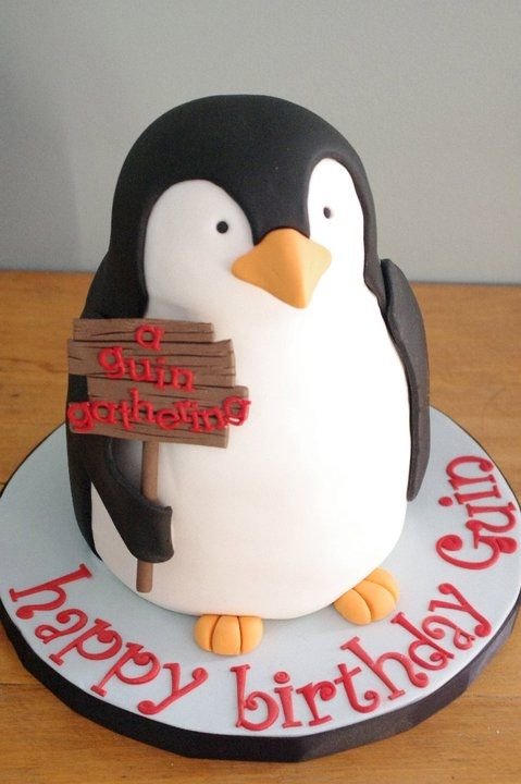 Penguin Cake - Two penguins like this, one a little smaller, the larger can have a princess crown & boa and the smaller a prince crown - Writing & details in their party colors