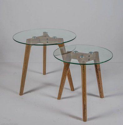 Set 2 bijzettafels Radius rond glas / hout