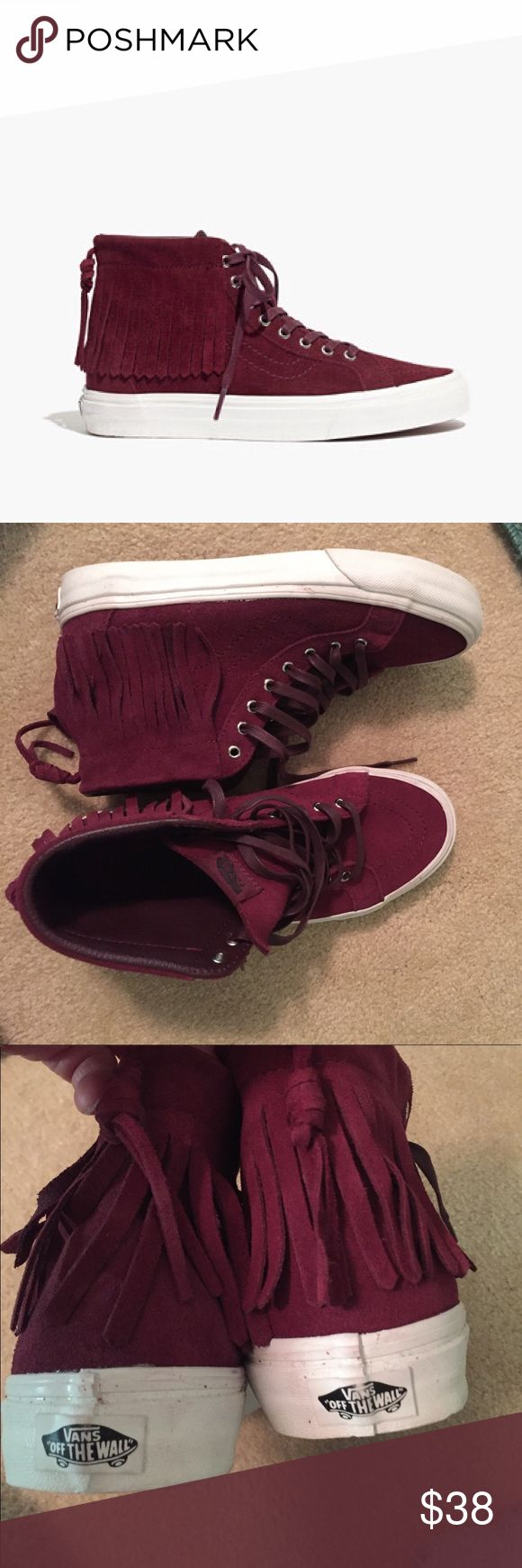 Vans Sk8-Hi Suede Fringe Sneakers 8 Burgundy NEW Super cool burgundy suede high tops by Vans. Lace ups with fringe detail at top. Women's size 8. New without box. Inside label marked through to deter bogus store returns. Vans Shoes Sneakers