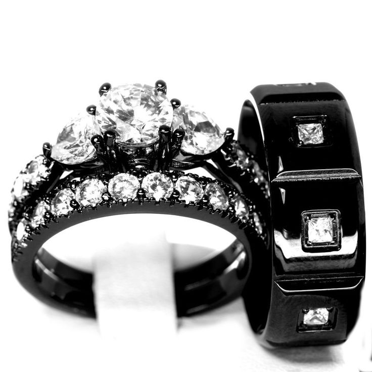 details about his and hers 925 sterling silver stainless steel wedding rings set black cz aaa - Black Wedding Ring