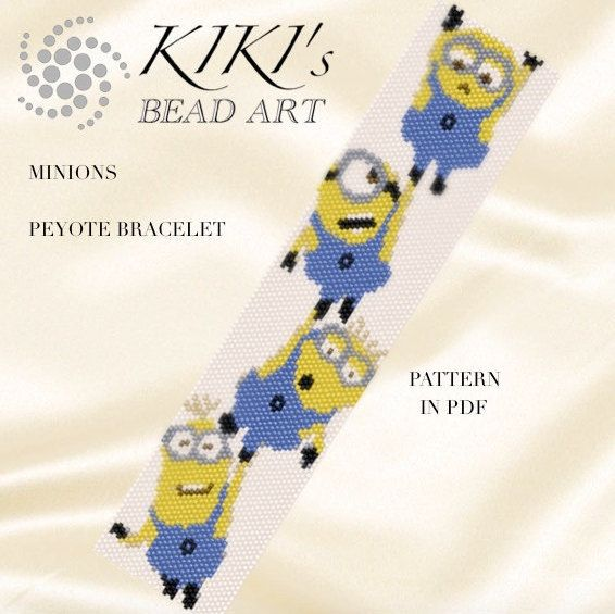 Pattern, peyote bracelet - Minions despicable me - happy minion inspired character peyote bracelet pattern in PDF - instant download