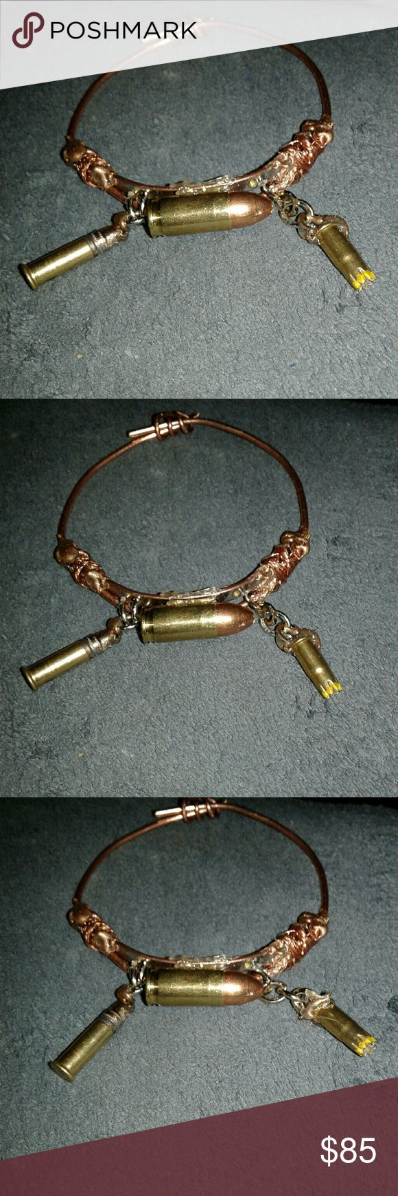 Copper bullet bracelet Handmade piece of unique one of a kind fashion statement Jewelry Bracelets