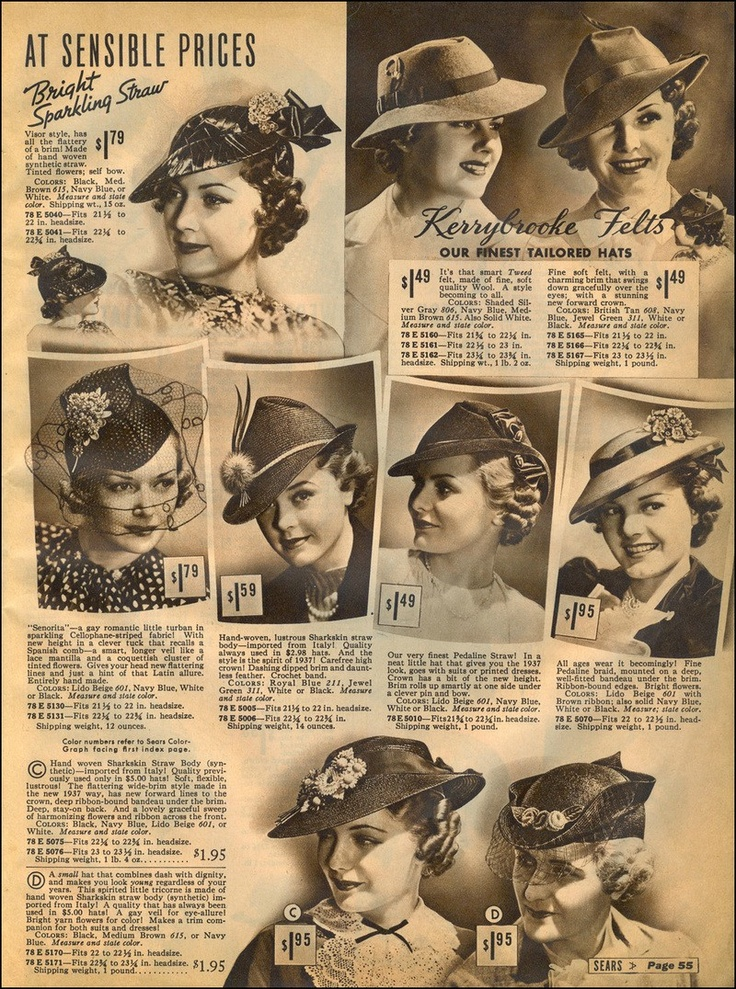 1938 Ladies Hat's from the Sears Catalog
