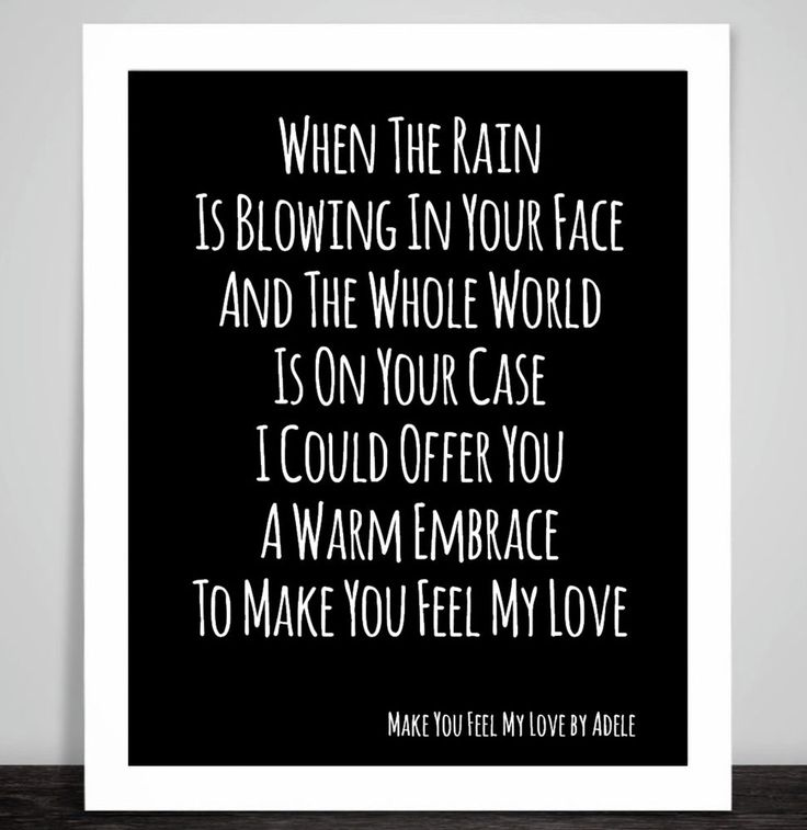Adele Make You Feel My Love Music Inspirational Song Lyric Art Print 10 Colour