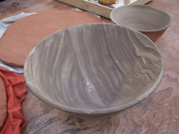 Broom slipped bowl   Lucy Fagella Pottery