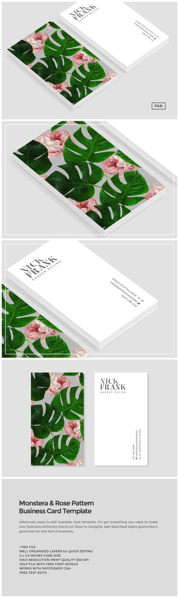 Monstera Rose Pattern Business Card by Design Co. on @creativemarket