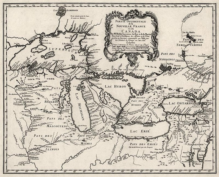 Antique Map Of The Great Lakes From 1755
