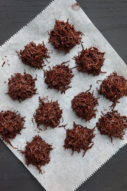 Chocolate Haystacks  Makes 12 servings, Prep time: 15 minutes  These awesomely delicious treats are super simple to make and will brighten anyone's day. I use longer coconut threads to give it that haystack look but you can use the finely shredded coconut with the same great results. Jazz it up with some chopped nuts or hemp seeds for a little nutrition boost.
