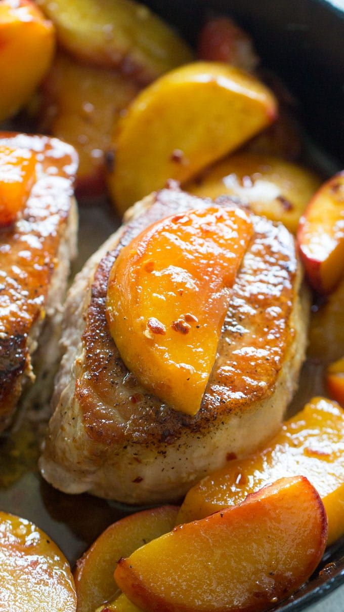 One Pan Peach Pork Chops are the perfect combination of sweet and savory. Ready in just 30 minutes. and perfect for summer dinners.