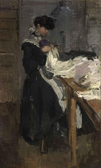 Isaac Israëls - A SEWING GIRL AT STUDIO PAQUIN, PARIS; Medium: oil on canvas