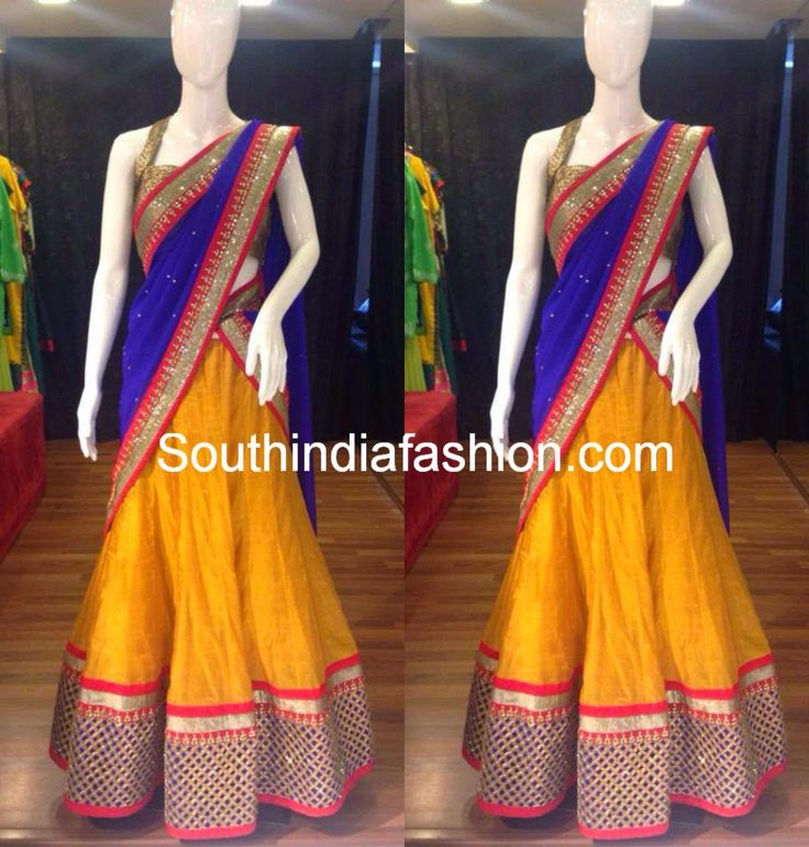 Elegant Blue and Yellow Half Saree ~ Celebrity Sarees, Designer Sarees, Bridal Sarees, Latest Blouse Designs 2014