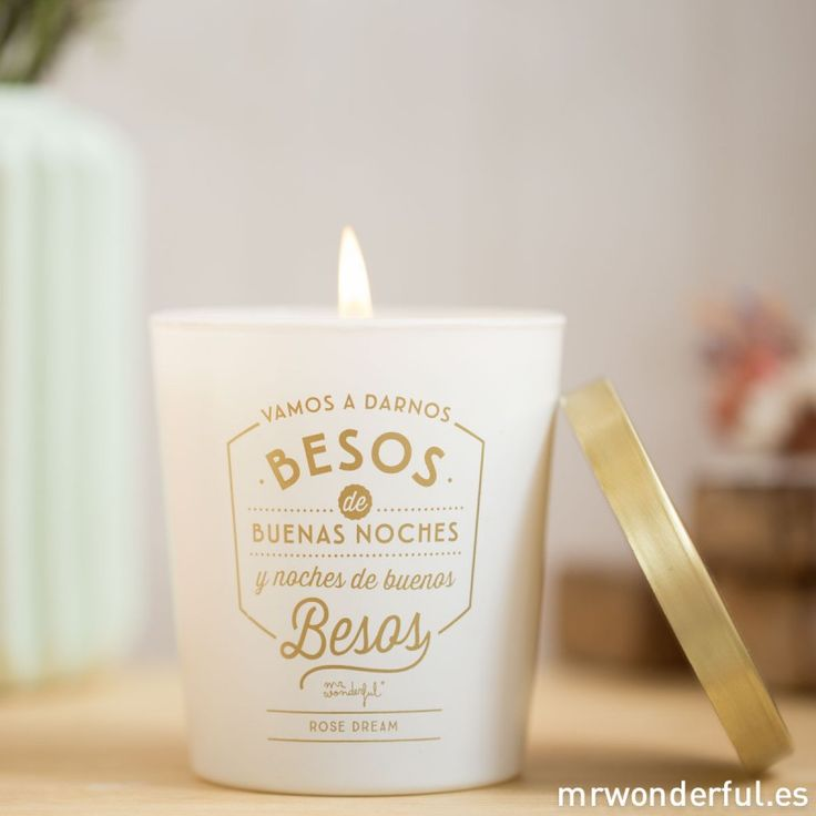 """Vela """"Vamos a darnos besos de buenas noches"""" #candle #mrwonderfulshop #vela #winter"""