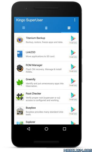 Kingo SuperUser [ROOT] v2.1.7.8Requirements: 3.0+Overview: [IMPORTANT] For Kingo SuperUser to work, it requires a ROOTED device. If not, please root your device first with Kingo Android Root (PC or APK version) or other methods you prefer. Kingo...