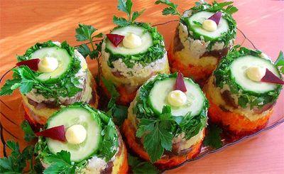 Красивые салаты. Удивляем гостей вкусными и красиво оформленными блюдами
