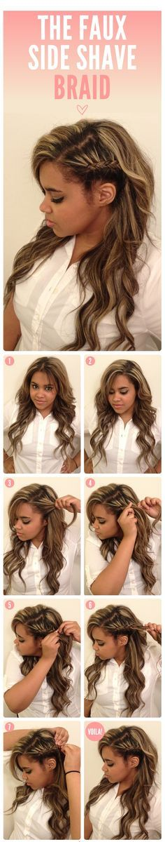 THE FAUX SIDE SHAVE BRAID-Top 15 Easy-To-Make Braids Tutorials doing this for the ellie goulding concert.