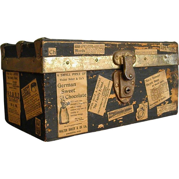 Antique Well-Loved Wooden Doll Trunk