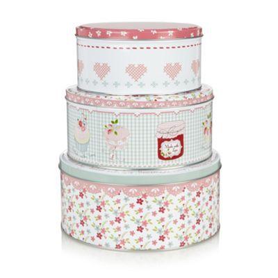 At home with Ashley Thomas Set of three floral cake tins- at Debenhams.com
