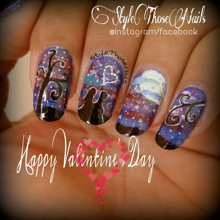 Style Those Nails: Love Under Stars ! - A romantic Valentine's day Nailart !
