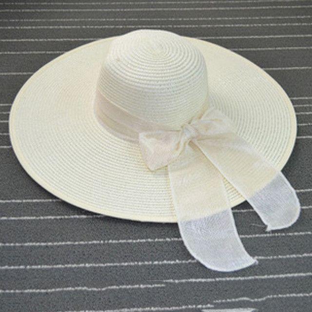 Hot Sale Summer Sun Hats For Women Large Brim With Ribbons Bow Beach Hat Cap Ladies Sun Hat UV Protect Chapeu Feminino