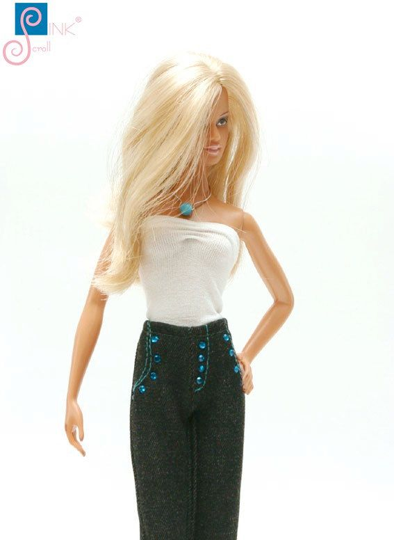 Barbie clothes jeans: Montana by Pinkscroll on Etsy