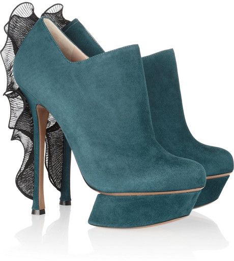 NICHOLAS KIRKWOOD Chiffon trimmed Suede Ankle Boots - Lyst