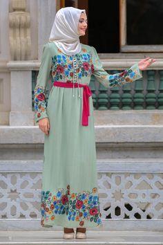 9efcee4192a94 2018/2019 Yeni Sezon Günlük Elbise Koleksiyonu -Neva Style - Çiçek Desenli  Yeşil Tesettür