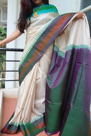 Off- White Gadwal Silk Saree with Temple design & Ganga Jamuna Border