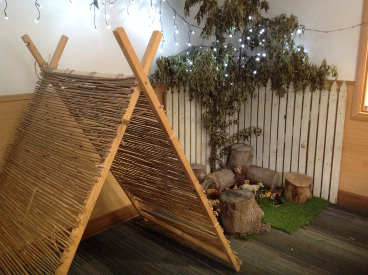 Room 4 have created this lovely imaginative farm area using a mixture of natural and recycled materials. It creates a quiet space for children to relax and play. - Gowrie Victoria