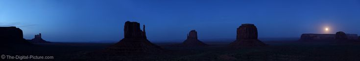 Sunset and Moonrise Over Monument Valley: The view of Monument Valley Navajo Tribal Park from near the visitor's center (very easily accessible) begs for a panorama shot. This nearly-80-megapixel panorama is composed of 7 images stitched together in Photoshop. The western sky is still brightened from the setting sun while a full moon rises over the east. For more images with commentary visit us at www.The-Digital-Picture.com/gallery/