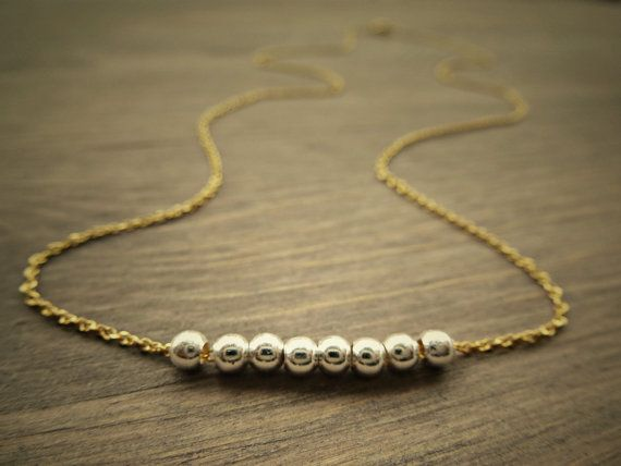 Sterling silver and Gold necklace petite dainty by SoCoolCharms, €24.47