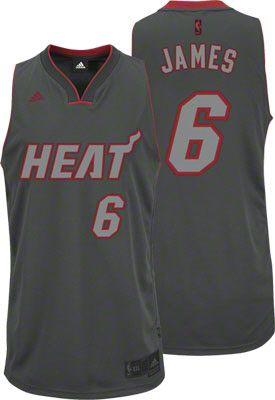 Miami Heat LeBron James 6 Grey Authentic Jersey Sale