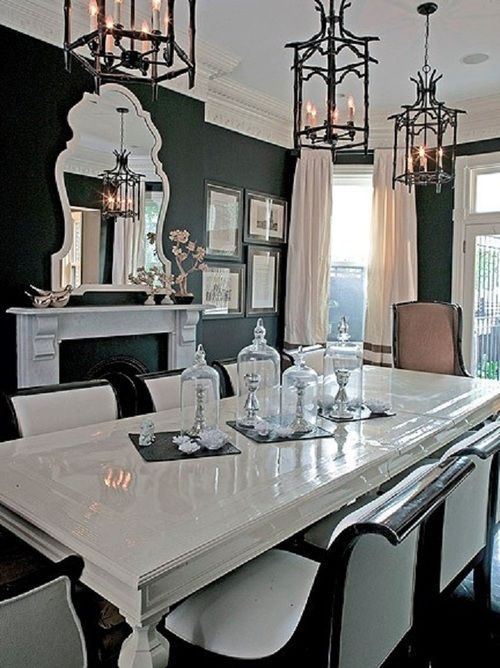 160 Best Black And White Dining Room Images On Pinterest Home - Black And White Dinning Room