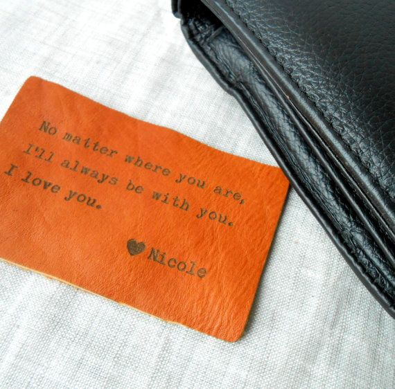 Leather Wallet Insert Card, Custom Wallet Insert, 3rd Leather Anniversary Gift, Mens Gift, Personalized Mens Wallet Card