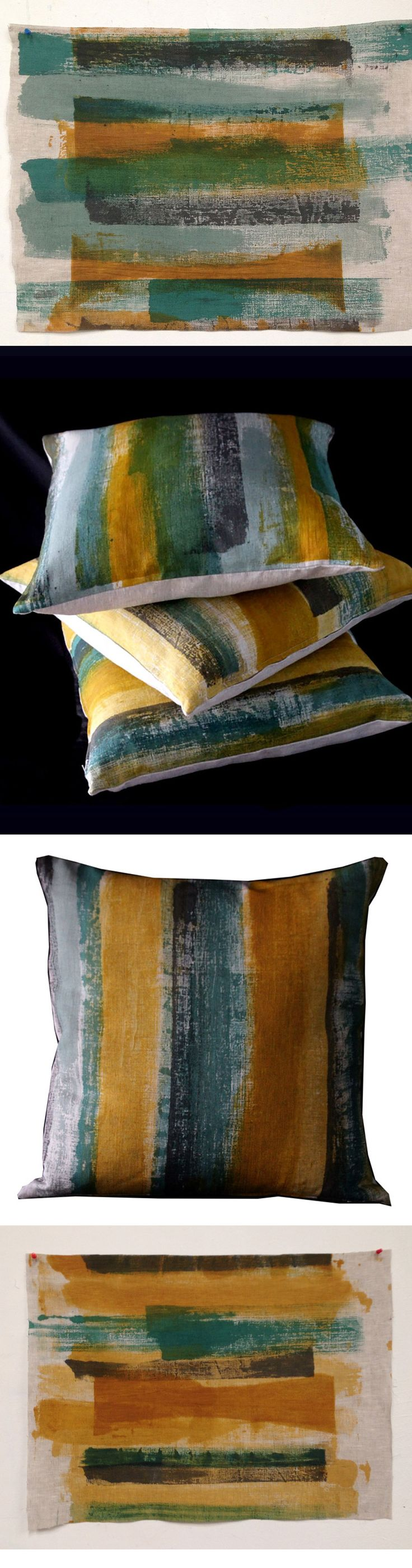 Handpainted and printed on linen. Made to order in NZ by Katie Smith. Smitten Design Textiles