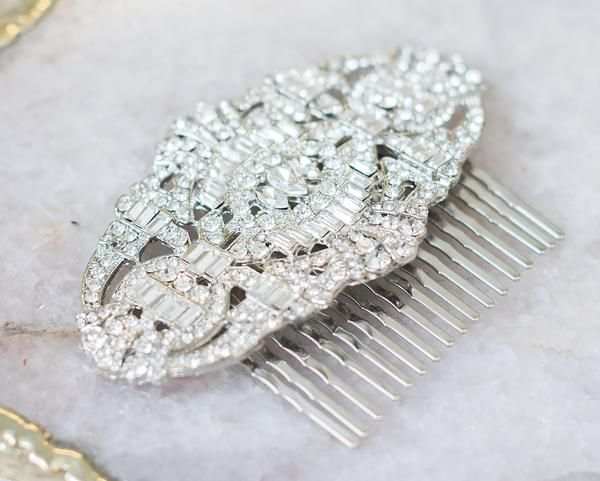Art Deco Style Crystal Encrusted Hair Comb, Elise 1