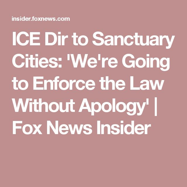 ICE Dir to Sanctuary Cities: 'We're Going to Enforce the Law Without Apology'   Fox News Insider