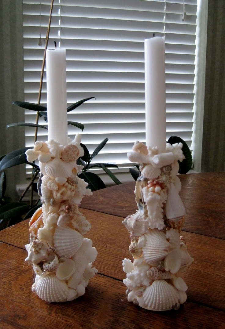 Glue seashells to a wooden candleholder