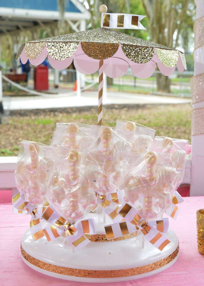 Pony treats at a carousel birthday party! See more party ideas at CatchMyParty.com!