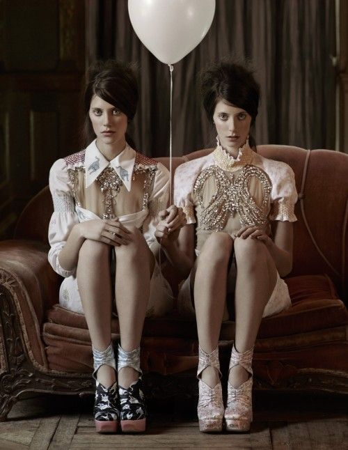 """""""Miu Miu"""" Interview Magazine, March 2010photographer: Mark Segal Ann Kenny, Kirby Kenny muted browns and pinks, twins holding a white ..."""