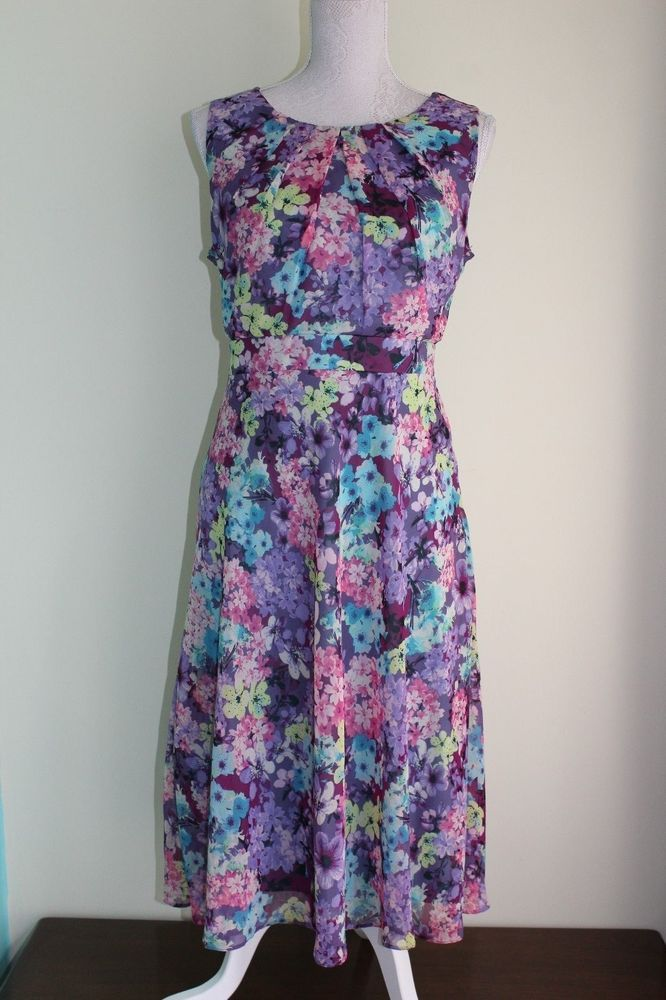 Size 14 THE COLLECTION DEBENHAMS Purple Floral Dress Good Quality Lined VGC (47)