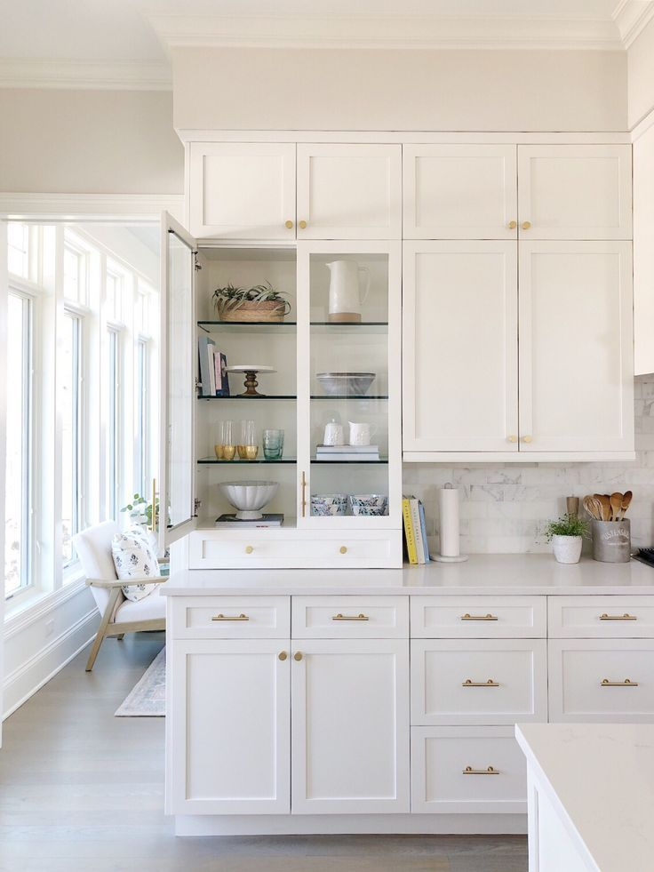 White Kitchen Glass Cabinet Brass Hardware Shelf Decor With