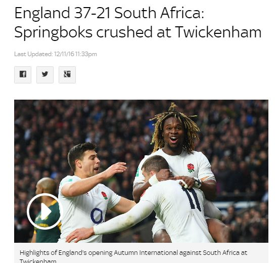 #Rugby News: #England ended their 12-game winless streak against #South Africa with a crushing 37-21 victory at #Twickenham. First-half tries from Jonny May & Courtney Lawes put England on course for an 11th successive Test win, with George Ford and Owen Farrell crossing after the restart. Replacement Johan Goosen scored a try on the hour mark and Willie le Roux grabbed a second with two minutes remaining but there were few positives for the visitors, who were outclassed by Eddie Jones' men.