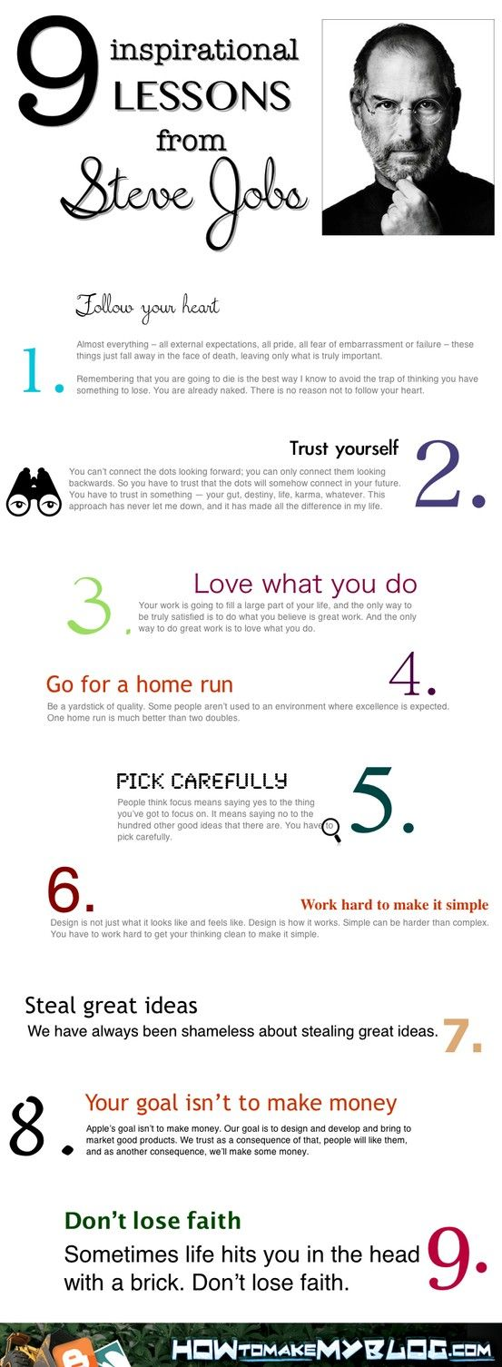 9 Inspirational Lessons From Steve Jobs [Infographic] The best advice for our soon to graduate students. Quotes Steve Jo...