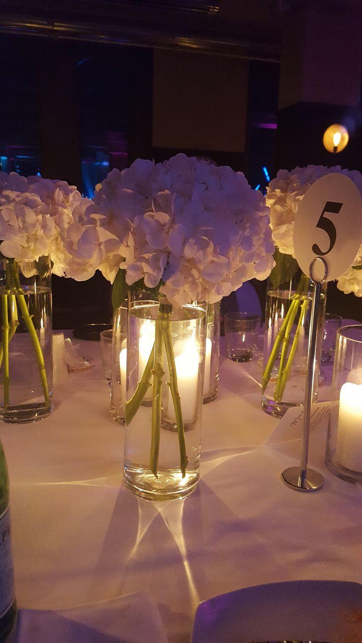 Hortensien, Tischdeko, Hochzeit / Wedding, weiß