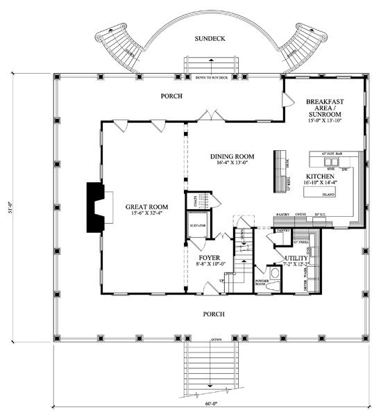 17 best images about cottages floor plans on pinterest for Beach house floor plans with elevator