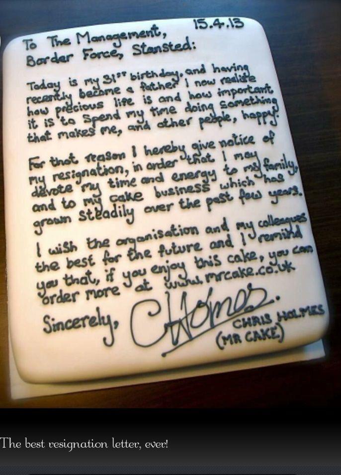 Best Resignation Letter Cake Fu0026B