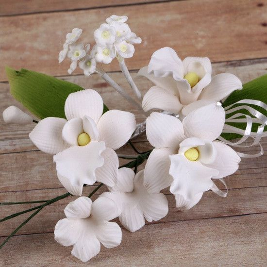 Singapore Orchid Gumpaste Sugarflower Sprays cake topper makes cake decorating fondant cakes very easy.  Readymade cake decoration.  | www.CaljavaOnline.com #caljava #sugarflower #orchid