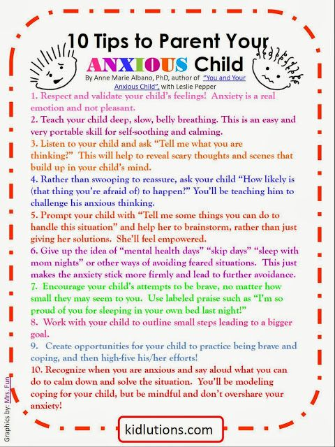 FREE PRINTABLE! 10 tips to Parent Your #Anxious Child. Tips by Dr. Anne Marie Albano shared with our Kidlutions' readers! GREAT tips and a GREAT book! Super to share with parents, teachers when caring for anxious kiddos!